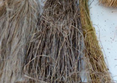 De droite à gauche: lin arraché, rouis, peigné